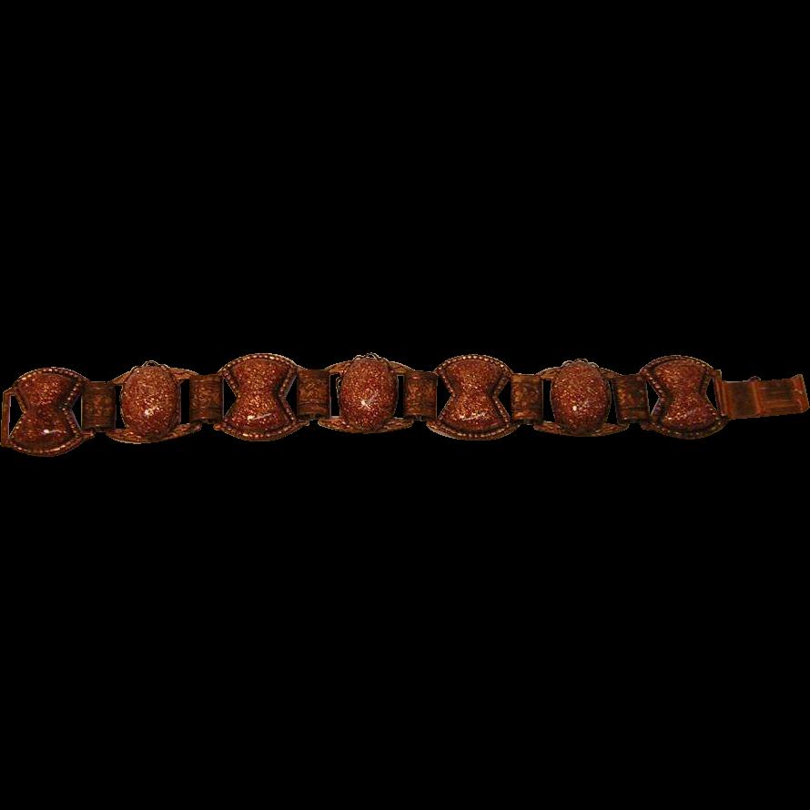 Vintage Copper-tone Speckled Lucite Bracelet
