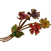 Vintage Austrian Spring Bouquet of Flowers Pin