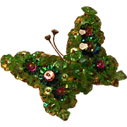 Vintage Butterfly Pin with Green Beads