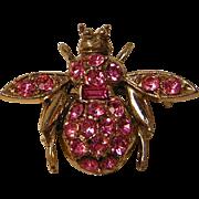 Vintage Pink Rhinestone Bug Pin