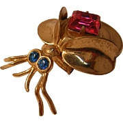 Vintage Bug Pin with Pink Rhinestone