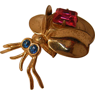 Vintage Bug Pin with Pink Rhinestone