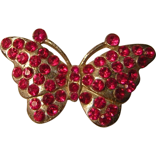 Vintage Pink Butterfly Bug Pin