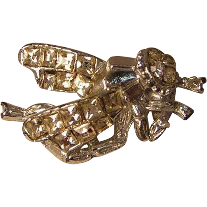 Vintage Art Deco Style Rhinestone Bug Pin