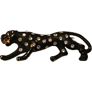 Vintage Leopard Pin with Rhinestone Spots