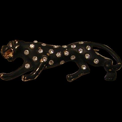 Vintage Leopard Pin with Rhinestone Spots