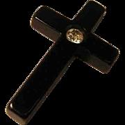 Vintage Bakelite Cross Pendant with Rhinestone Accent