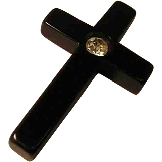 Vintage Bakelite Cross Pendant with Rhinestone Accent