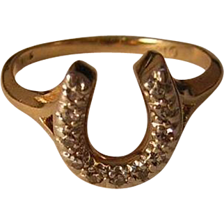 Vintage 10k Gold Horseshoe Ring Size 4