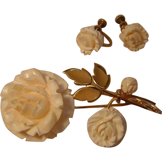 Vintage Gold Filled Pin and Earring Set with Carved Faux Ivory Roses