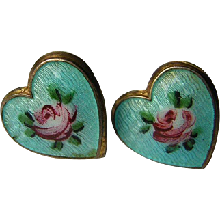 Vintage Sterling Silver Guilloche Heart Earrings with Roses