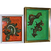 Vintage Venetian Frame Remnants in Shadow Boxes