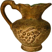 Vintage Small Majolica Grape Pitcher with Gold Wash