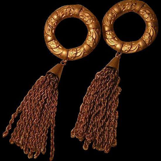 Vintage Wreath and Tassel Earrings