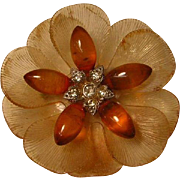 Vintage Early Plastic Flower Brooch