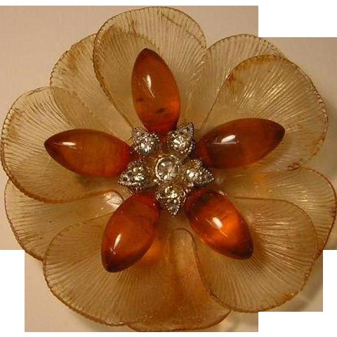Vintage Early Plastic Flower Brooch