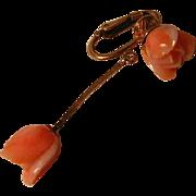 Vintage Single Carved Coral Earring 14k