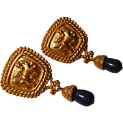 Vintage Avon Pegasus Earrings with Faux Lapis Drops