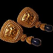 Vintage Avon Pegasus Earrings with Faux Lapis Drops
