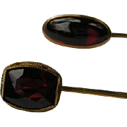 Two Vintage Garnet Stick Pin's 14k Gold