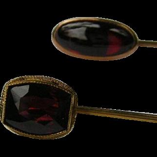 Two Vintage Garnet Stick Pin's 14k Gold