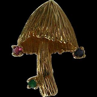 Vintage 14k Gold Mushroom Pin