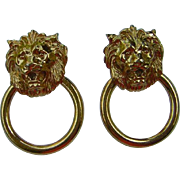 Vintage Door Knocker Lions Head Earrings