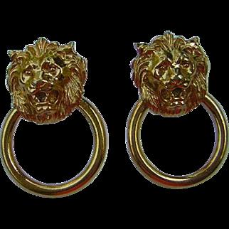 Vintage Door Knocker Lions Head Earrings