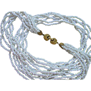 Vintage White Glass Beaded Necklace Multi-strand