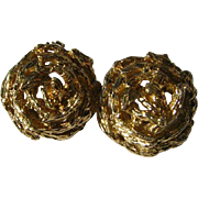 Vintage 14k / 585 Gold Stylized Rose Clip Earrings On Sale until Christmas