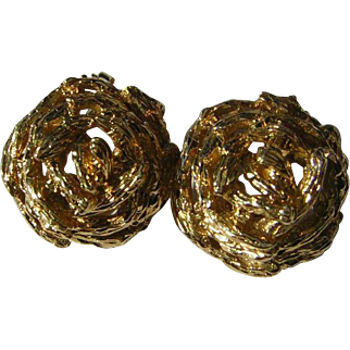 Vintage 14k Gold Stylized Rose Clip Earrings