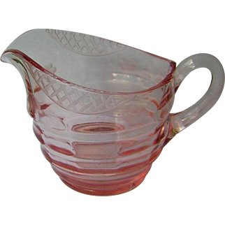 Vintage Pink Glass Creamer with Cut Pattern