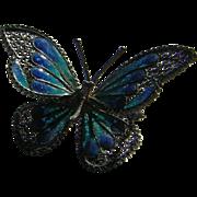 Vintage Plique a` jour Butterfly Pin