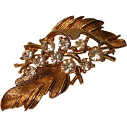Vintage Lisner Rhinestone Leaf Pin / Brooch