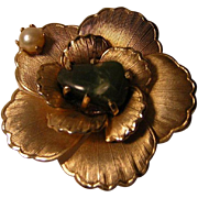 Vintage Rose Pin with polished Green Stone and Cultured Pearl