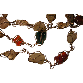 Vintage Caged Stone Necklace