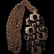 Vintage Brutalist Large Pendant Necklace