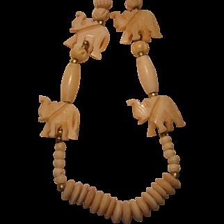 Vintage Carved Bone Necklace with Elephants