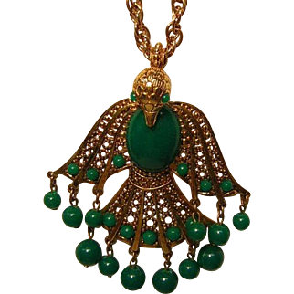 Vintage Bird Necklace with Green Plastic Dangles