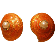 Vintage Gerard Yosca Earrings Enameled Shell with Faux Pearl