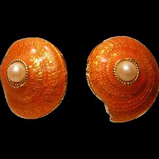 Vintage Gerard Yosca Earrings Enameled Shell with Faux Pearl