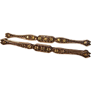 Vintage Sterling Silver Pair of Rhinestone Bar Pins