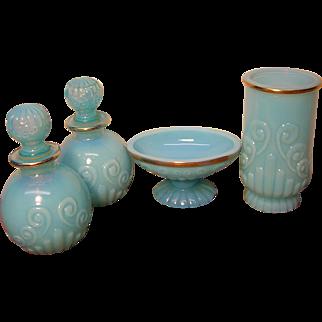 Vintage Avon Bristol Blue Glass Bath Collection