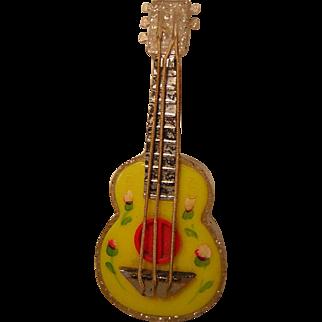 Vintage Guitar Shaped Plastic Salt and Pepper Shaker