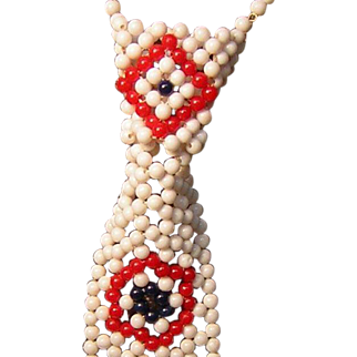 Vintage Beaded Tie Necklace