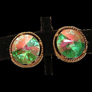 Vintage Lisner Aurora Borealis Clip Earrings
