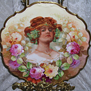 Beautiful 12 Inch LIMOGES FRANCE Charger With Portrait of a Princess and Hand Painted Multi Colored Roses