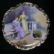 "Gorgeous Limoges Charger With Victorian Ladies in a Garden With Roses and a Peacock, Artist Signed, ""Bazanan"""