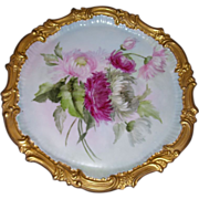 Beautiful Limoges Dresser Tray with Fancy Gilded Border and Large Hand Painted Chrysanthemums on Stem and Leaf, Artist Signed as Photographed