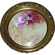 """Exquisite Limoges 12 ½ Inch Multi-Colored Roses on Stem and Leaf Charger; Signed by Master Artist """"A. Bronssillon""""; With Beautifully Gilded 15 ¾ Inch Frame"""